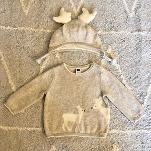 Janie and Jack Deer Sweater 6-12 Months
